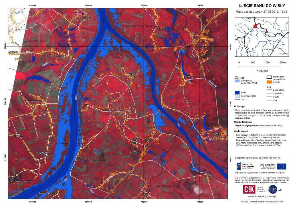 Mapy zasięgu wody w województwie małopolskim i podkarpackim (nowe mapy dodane 27.05)
