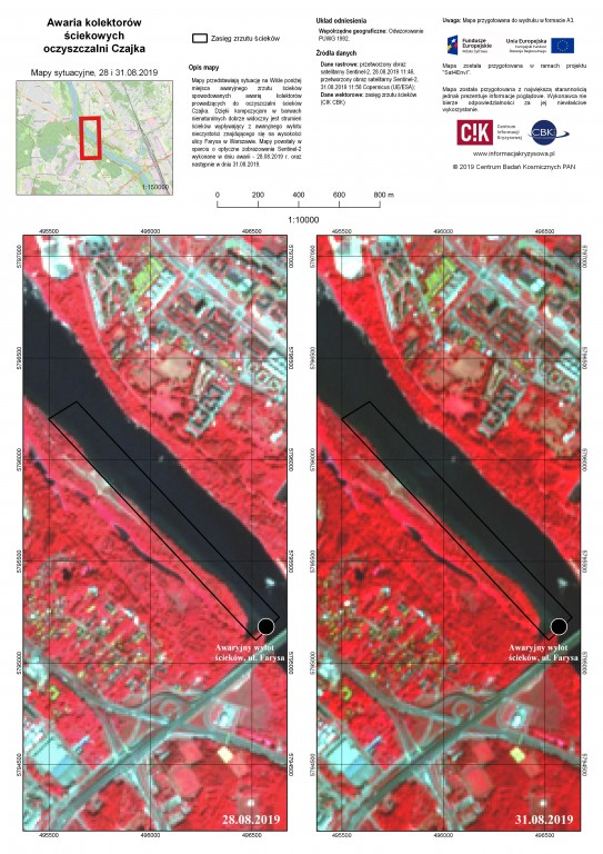 Sewage in Vistula on Sentinel-2 images