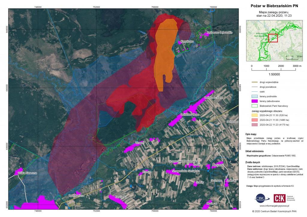 Pożar w Biebrzańskim Parku Narodowym obserwowany z orbity (nowe mapy dodane 30.04, 17:00)